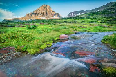 Photograph - Triple Falls Stream Glacier National Park Painted  by Rich Franco