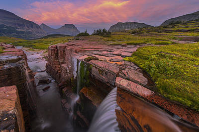 Montana Landscapes Photograph - Triple Falls Sunset by Joseph Rossbach