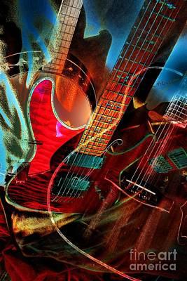 Triple Header Digital Banjo And Guitar Art By Steven Langston Art Print by Steven Lebron Langston