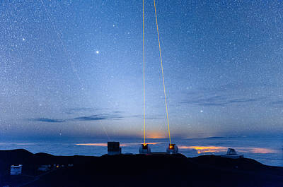 Photograph - Triple Lasers Over Mauna Kea Observatory 1 by Jason Chu