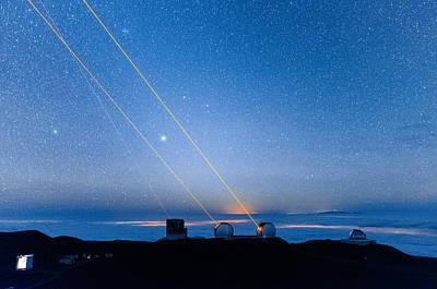 Photograph - Triple Lasers Over Mauna Kea Observatory 2 by Jason Chu