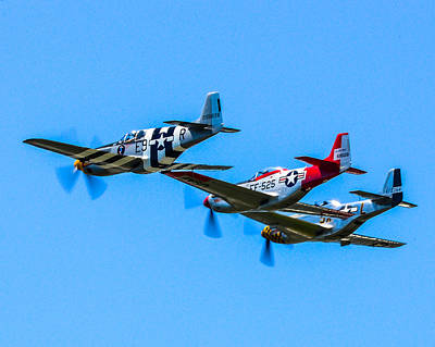 North American P51 Mustang Photograph - Triple Mustangs by Puget  Exposure