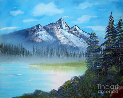Bob Ross Painting - Triple Peaks by Dave Atkins