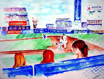 Shea Stadium Painting - Triple Play At Shea by Sandy Ryan
