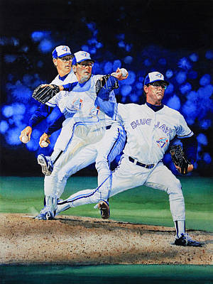 Baseball Art Baseball Painting - Triple Play by Hanne Lore Koehler