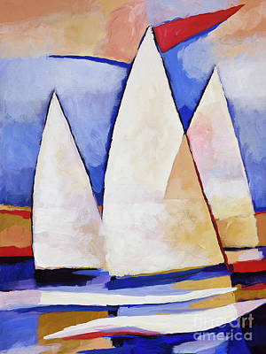 Boats Painting - Triple Sails by Lutz Baar
