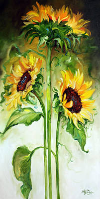 Sunflowers Royalty-Free and Rights-Managed Images - Triple Sunny Sunflowers by Marcia Baldwin
