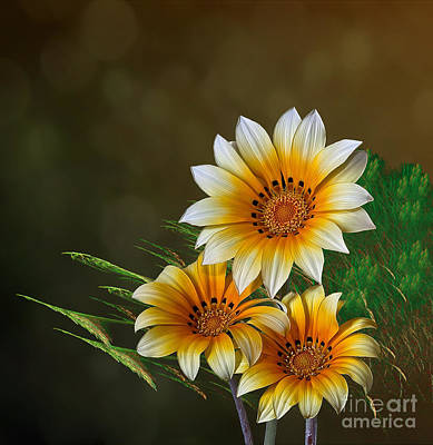 Digital Art - Triple Sunshine by Shirley Mangini