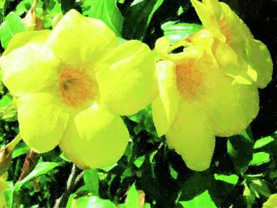 Mixed Media - Triple Yellow by Florene Welebny