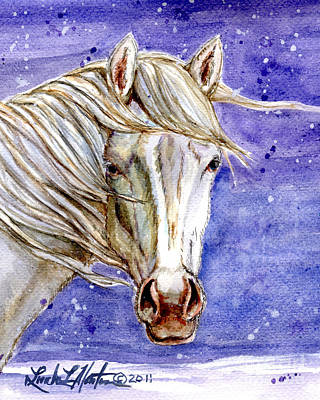 Painting - Tripod Wild Stallion Of The Sand Wash Basin by Linda L Martin