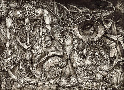 Surrealism Drawings Royalty Free Images - Tripping Through Bogomils Mind Royalty-Free Image by Otto Rapp