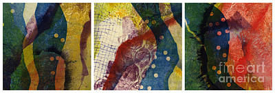 Rose. Collage Painting - Triptic by Kelley Albert