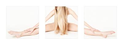 Legs Photograph - Triptych Beautiful Nude Gymnast 1 by Jochen Schoenfeld
