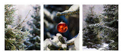 Triptych - Christmas Forest - Featured 3 Print by Alexander Senin