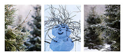 Triptych - Christmas Trees And Snowman - Featured 3 Print by Alexander Senin