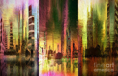 Mountain Art Mixed Media - Triptych Cityscape Mixed Media Painting by Heinz G Mielke