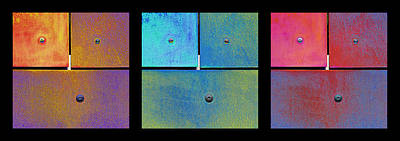 Photograph - Triptych Gold Cyan Magenta - Colorful Rust by Menega Sabidussi