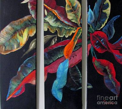 Painting - Triptych Leaves by AnnE Dentler