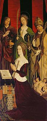 Triptych Of Moses And The Burning Bush, Right Panel Depicting Jeanne De Laval D.1498 With St. John Art Print by Nicolas Froment