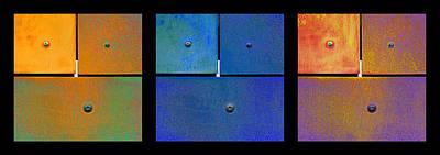 Photograph - Triptych Orange Blue Gold - Colorful Rust by Menega Sabidussi
