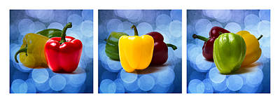 Stop Sign Photograph - Triptych - Pepper Traffic Lights 1 by Alexander Senin