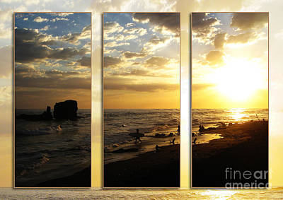Triptych Rock On Gold Art Print