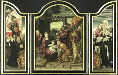 Triptych With Adoration Of The Magi, Manner Art Print by Litz Collection