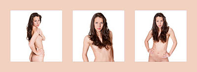Portrait Photograph - Triptychon Elegant Covered Nude 2 by Jochen Schoenfeld