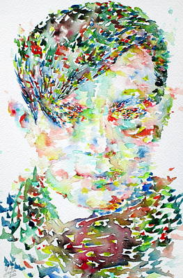 Dadaism Painting - Tristan Tzara Watercolor Portrait.1 by Fabrizio Cassetta