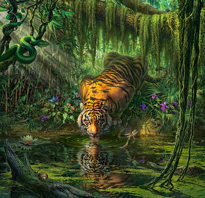 Tiger Wall Art - Digital Art -  Aurora's Garden by Mark Fredrickson