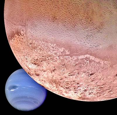 Space Photograph - Triton And Neptune by Benjamin Yeager
