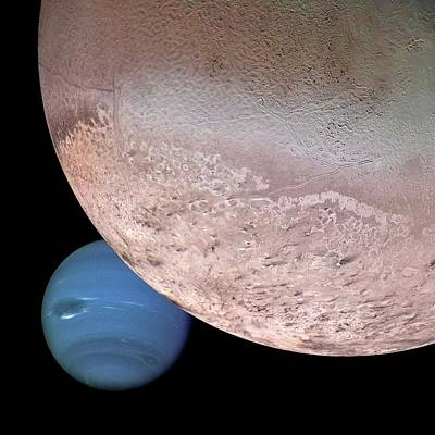 Neptune Wall Art - Photograph - Triton And Neptune by Nasa/jpl/usgs/science Photo Library