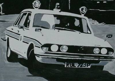 Police Chase Painting - Triumph 2500 Tc Cop Car by Sid Fox