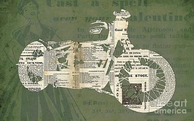 Triumph Boneville Cafe Racer Newspaper Cut Art Print by Pablo Franchi