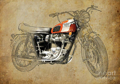 Digital Art - Triumph Bonneville 1969 by Pablo Franchi
