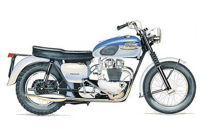 Motorcyle Painting - Triumph Bonneville Road Sports Motorcyle Vintage 650cc 1950's by Stan Sweeney