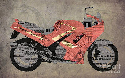 Bicycle Mixed Media - Triumph Daytona 1000 1992 And Red News, Man Cave Decoration by Pablo Franchi