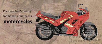 Triumph Daytona 1000 1992 Collage - Motorcycles Quote Art Print by Pablo Franchi