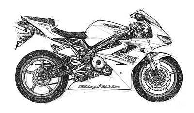 Triumph Drawing - Triumph Daytona by Pablo Franchi