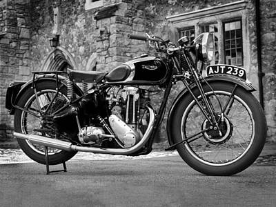 Black And White Photograph - Triumph De Luxe 1939 by Mark Rogan