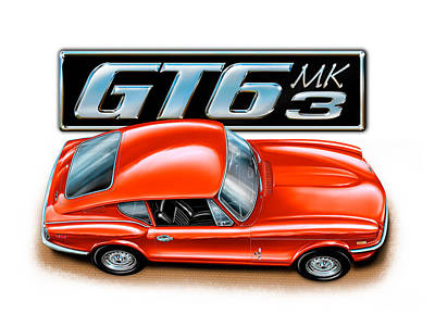 Triumph Gt-6 Mark 3 Red Art Print by David Kyte