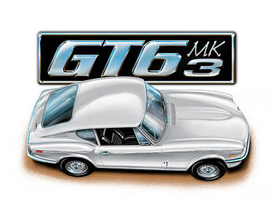 Triumph Gt-6 Mark 3 White Art Print by David Kyte