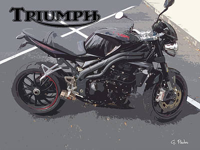 Painting - Triumph Motorcycle by George Pedro
