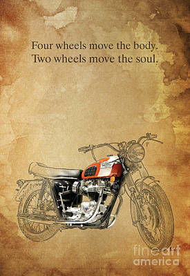 Harley Davidson Art Painting - Triumph Motorcycle Quote by Pablo Franchi