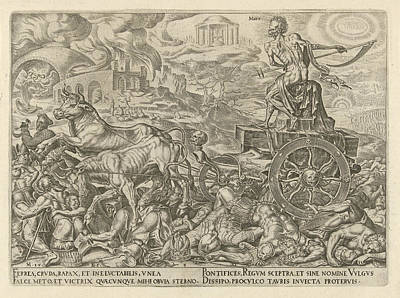 Spokes Drawing - Triumph Of Death, Philips Galle, Hadrianus Junius by Philips Galle And Hadrianus Junius