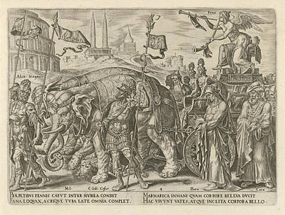 Overcoming Drawing - Triumph Of Fame, Philips Galle, Hadrianus Junius by Philips Galle And Hadrianus Junius