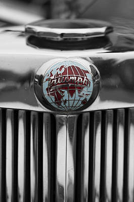 Photograph - Triumph Roadster Emblem Selective Color by Scott Campbell