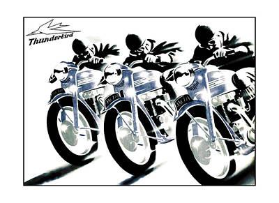 Bsa Photograph - Triumph Thunderbird Trio by Mark Rogan