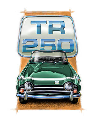 Tr Digital Art - Triumph Tr-250 Sportscar In Dark Green by David Kyte