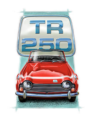 Tr Digital Art - Triumph Tr-250 Sportscar In Red by David Kyte